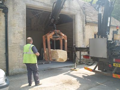 Guiting Limestone being delivered, used to make 'Shell' by LUCY UNWIN, Photography